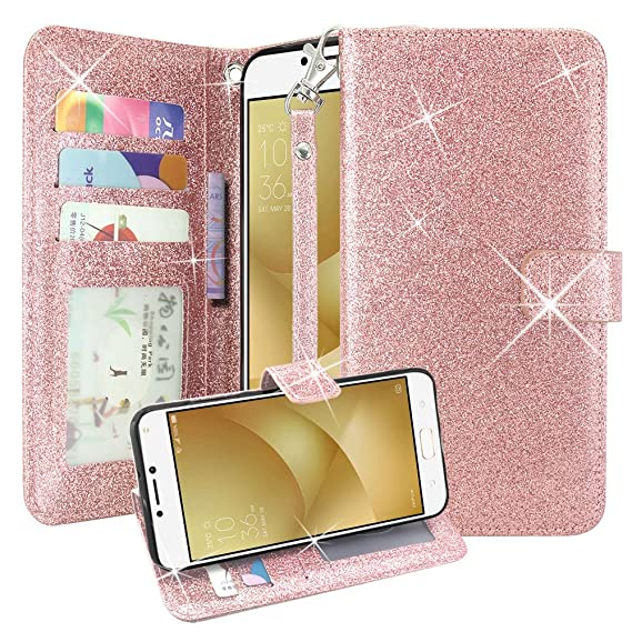 info for 63265 e23f6 Asus Zenfone V Case, Lacass Glitter Shiny Luxury PU Leather Flip Pouch  Wallet Case Cover with Card Slots and Wrist Strap for Asus ZenFone V V520KL  ...