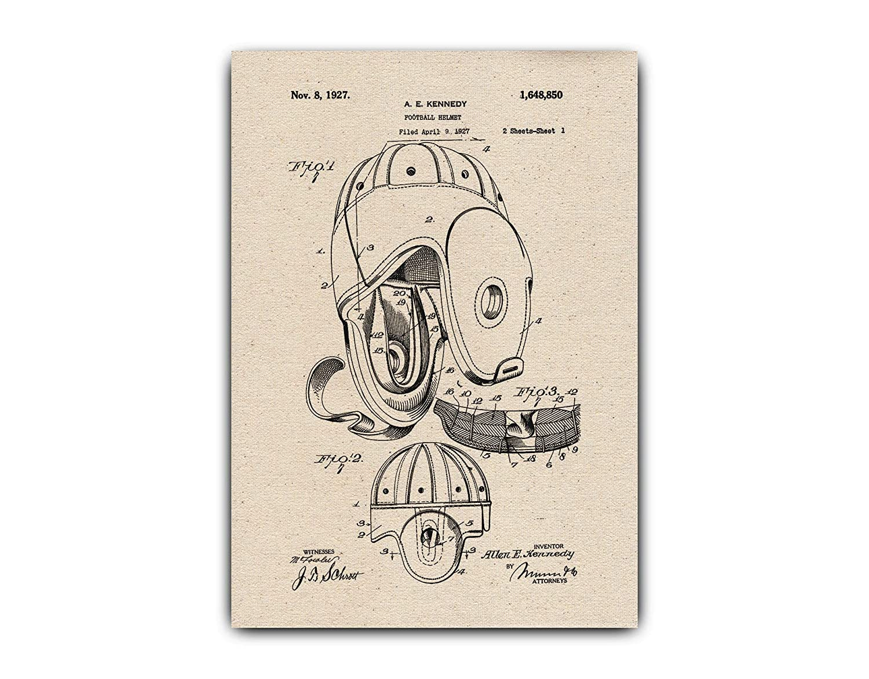 Amazon.com Football Helmet Drawings Patent, Wall Hanging
