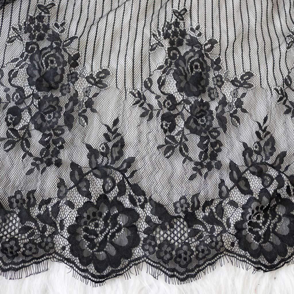 SHE.White Damen Kleid Gown Kurz Dessous Kimono Spitze Weiter /Ärmel Transparente Robe Mesh mit G/ürtel und G-String Bikini Cover Up Spitze Sommer Bat Weiter /Ärmel
