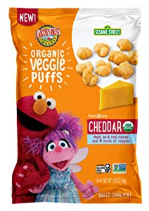 Earth's Best Organic Sesame Street Toddler Snacks Veggie Puffs 1.55 Oz Pack, Cheddar, 4 Count