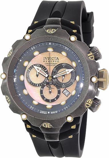 Invicta Venom reserva de la 18451 Hombres Negro y oro Dial Negro Correa de silicona Chrono reloj de buceo: Amazon.es: Relojes