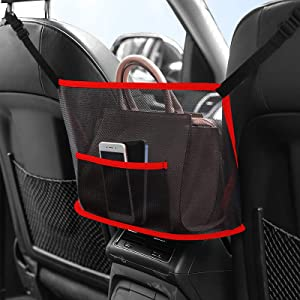 Car Net Pocket Handbag Holder, HiGoing Backseat Mesh Organizer Bag, Drivers Storage Netting Pouch for Purse Phone and Other Documents - Pet Kids Net Barrier(Red)