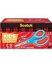 "Scotch Kids Scissors, 12 Pack, Blunt, Stainless Steel, Soft Grip, Blue, 5"""