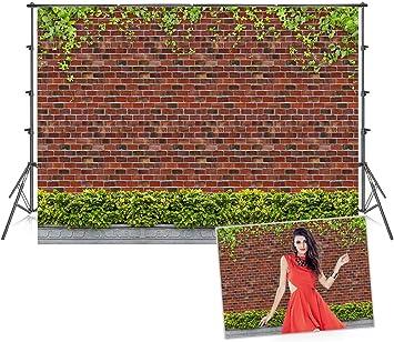 HD 7x5Ft Brick Wall Photography Background Climbing Grass Backdrop Garden Photo Video Studio Props LXME386