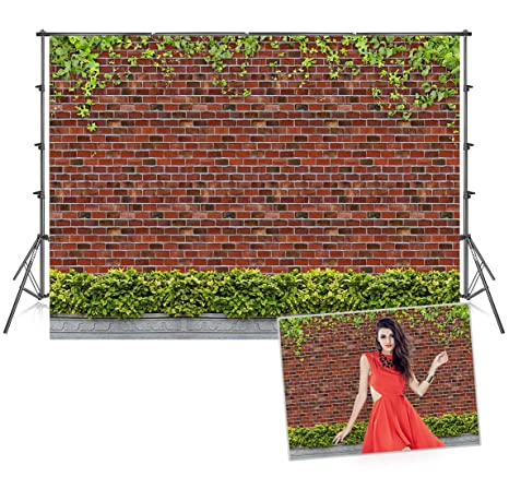 7x5 Ft Microfiber Red Brick Wall Photography Props Backdrops Grass Leaves Photo Studio Background Ivy Seamless Baby Show Backdrop For Picture
