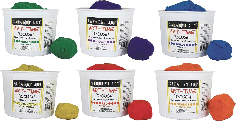 3 Pounds Each 18-Pound Assortment 85-3399 Art-Time Artist Dough Sargent Art 6 Color Dough Set