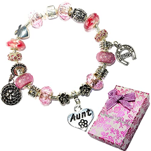 128626d1f ... denmark charm buddy aunt auntie pink purple crystal good luck pandora  style bracelet with charms gift