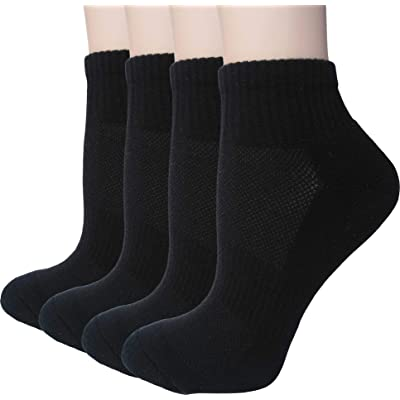 Women's Athletic Low Cut Ankle Quarter Cushion Socks 4 Pack (Black 1 - Shoe sizes: 5.5-8) at Women's Clothing store