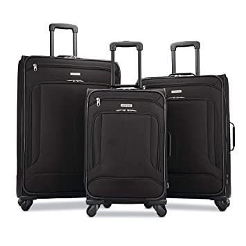 Amazon.com | American Tourister Pop Max 3-Piece Softside (SP21/25/29) Luggage Set with Multi-Directional Spinner Wheels, Black | Luggage Sets