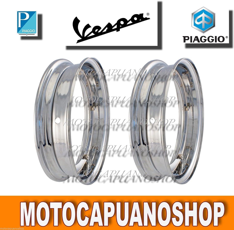 Kit 2Círculos aro cromado Rueda Piaggio Vespa 50special 3.00.10–3.50.10