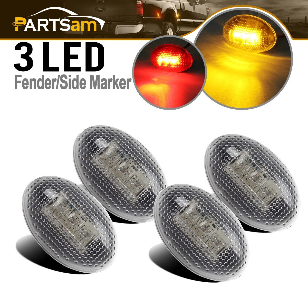 Partsam 2x Amber + 2x Red Side Fender Marker Assembly For 1999-2010 FORD F350 F450 F550, Full Kit Dually Bed Fender Side Marker Lights LED Ford Super Duty Aftermarket Replacement Front Rear