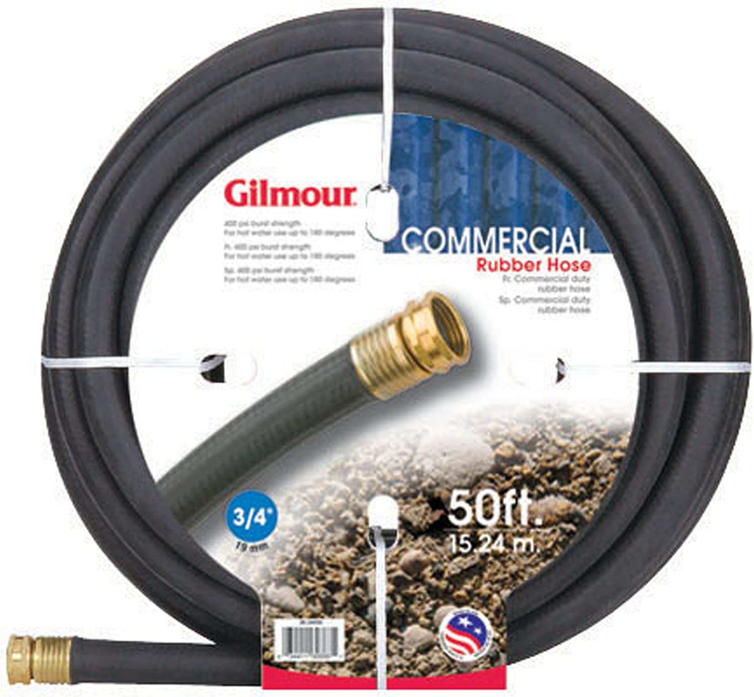 Gilmour 38 Series Reinforced Rubber Commercial Hose 3/4 Inch x 50 Feet38-34050 Black