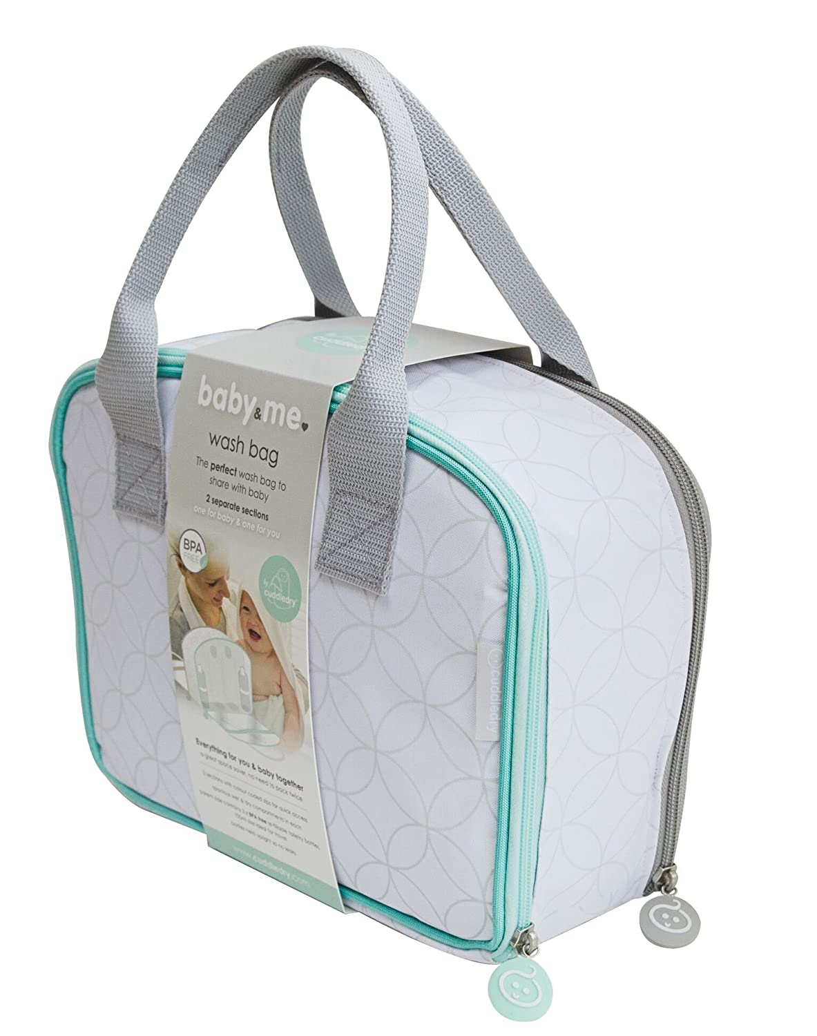 'Baby & Me' Two Section Two Zip Clever Washbag • for The organised Parent and Baby Cuddledry BME01
