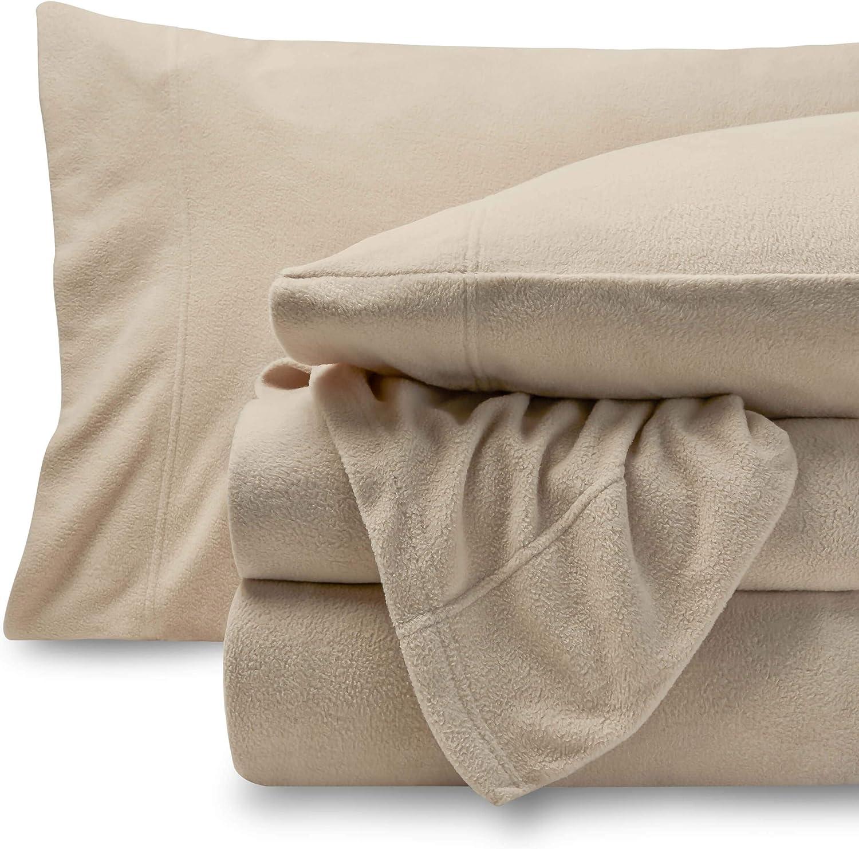 Bare Home Super Soft Fleece Sheet Set - Queen Size - Extra Plush Polar Fleece, Pill-Resistant Bed Sheets - All Season Cozy Warmth, Breathable & Hypoallergenic (Queen, Sand)