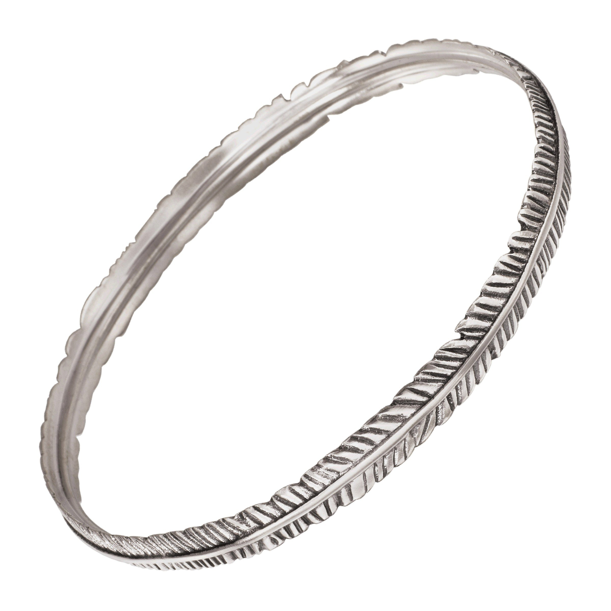 Silpada 'Etched Feather' Bangle Bracelet in Sterling Silver, 8''