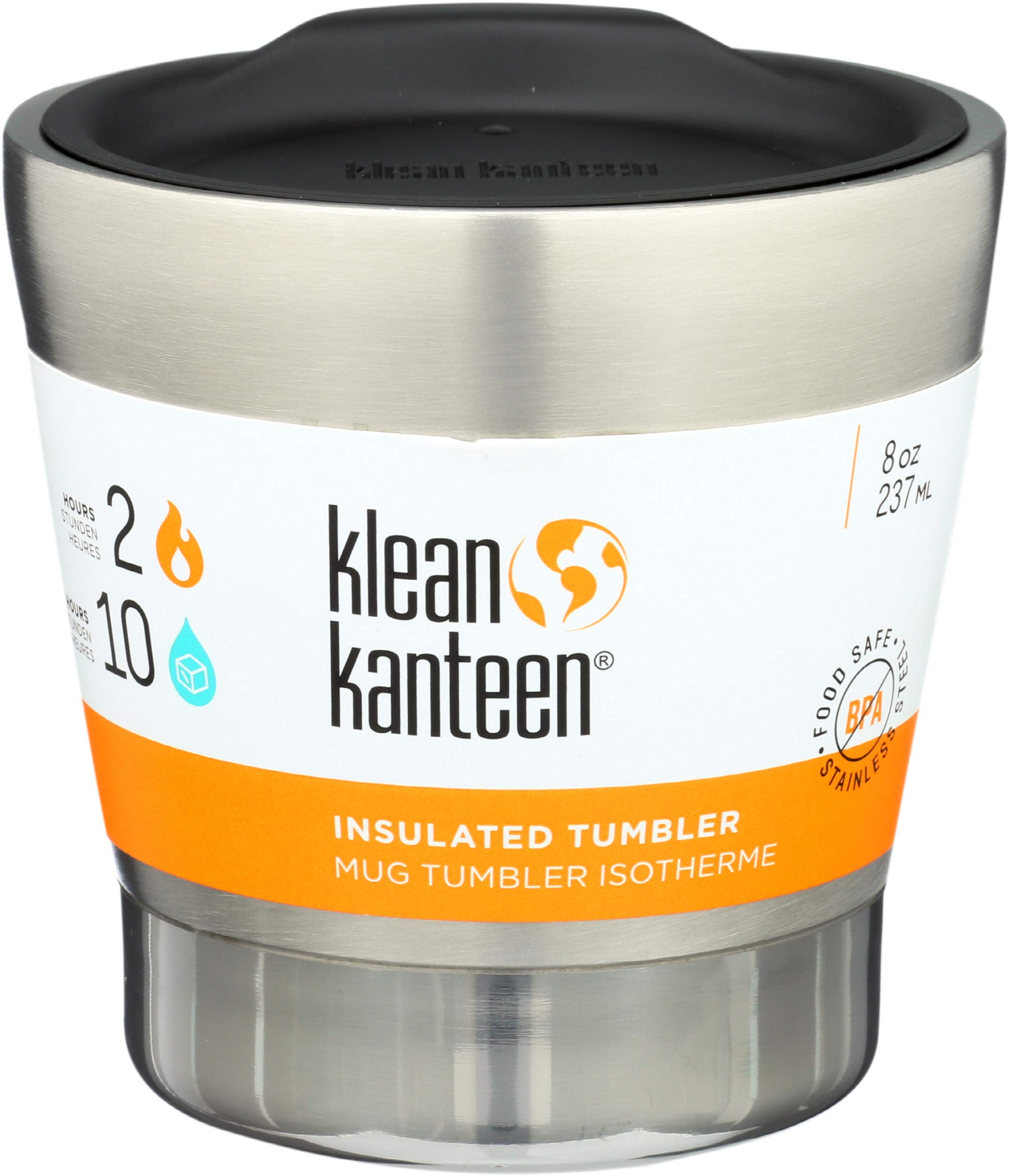Klean Kanteen Unisex Vacuum Insulated Tumbler Cup, Silver, 237 ml