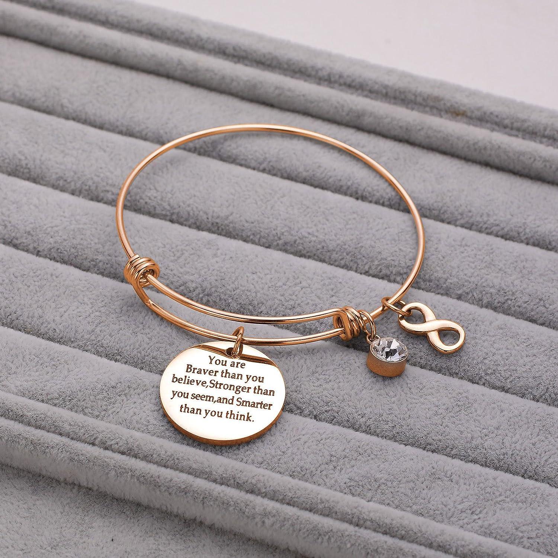 LIUANAN Back to School Gift You are Braver Stronger Seem Smarter Bracelet