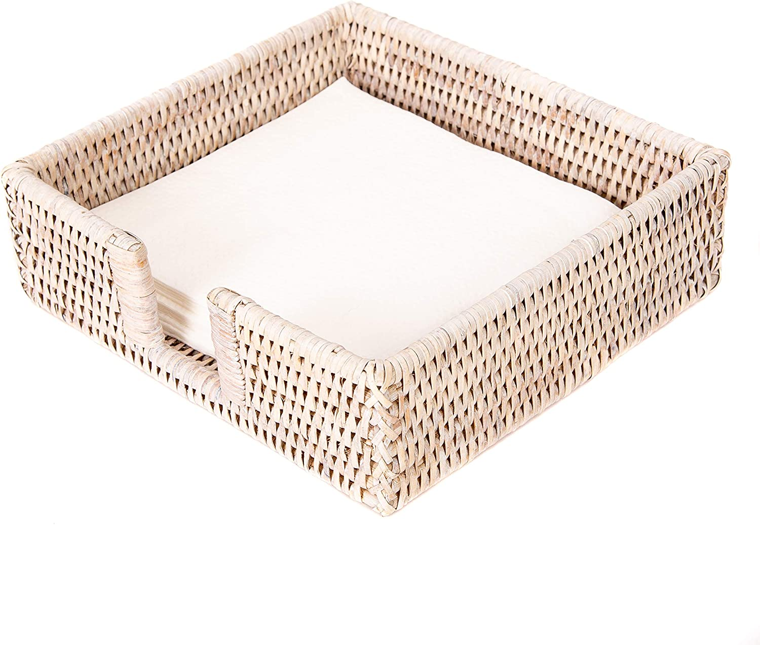 Honey Brown Artifacts Rattan Luncheon Napkin Holder with Cutout