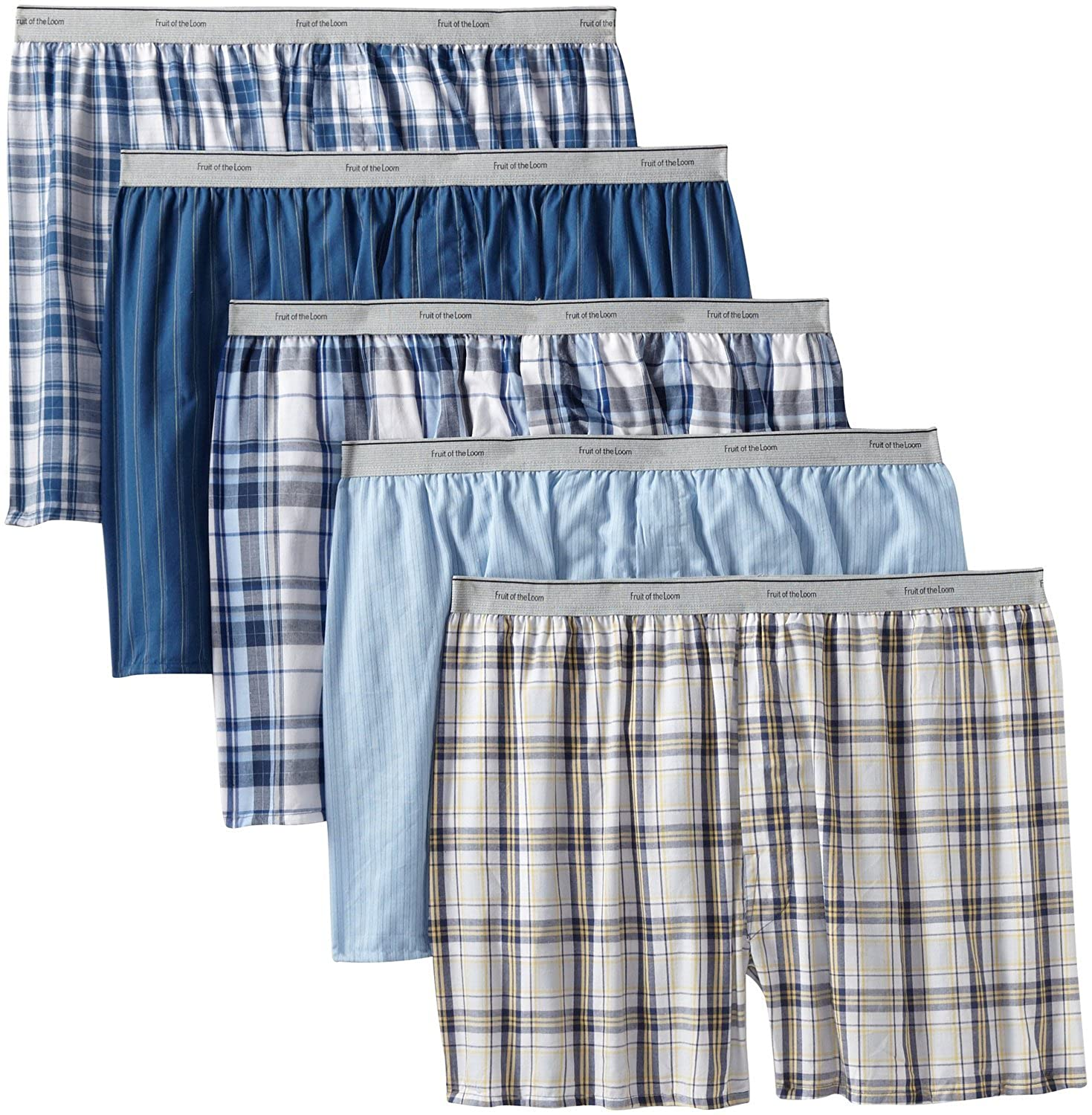 Fruit of the Loom Mens 5Pack Exposed-Waist Boxer Shorts Boxers Underwear XL