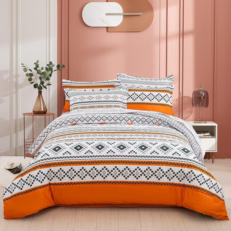 Boho 7 Pieces Bed in a Bag Comforter Set Queen Reversible Geometric Duvet Set Bohemia Orange and White Bedding Set (1 Comforter, 2 Pillow Shams,1 Flat Sheet, 1 Fitted Sheet, 2 Pillowcases)