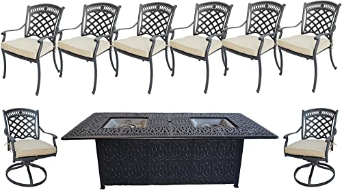 Sunvuepatio 9 Piece Outdoor Dining Set Elisabeth Cast Aluminum Powder Coated Frame Fire Pit Double Burner Table