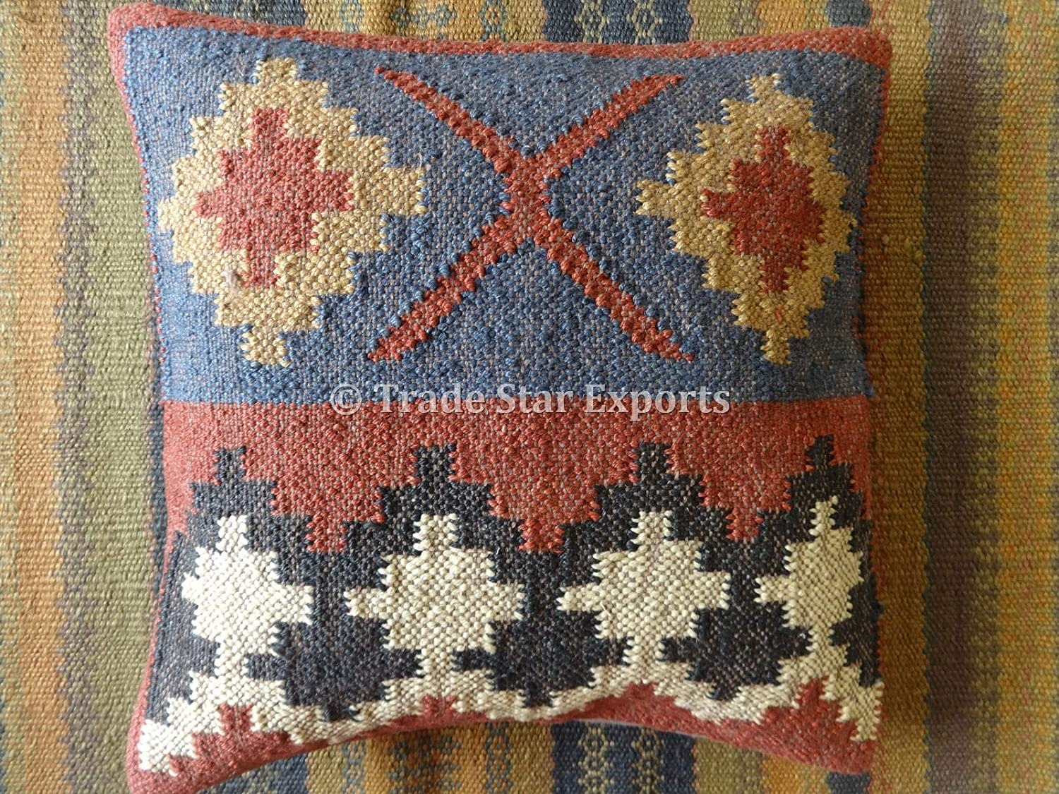 Trade Star Exports Kilim Pillow, Indian Cushion Cover 18x18, Jute Throw Pillow Cases, Decorative Handwoven Cushions, Boho Pillow Shams