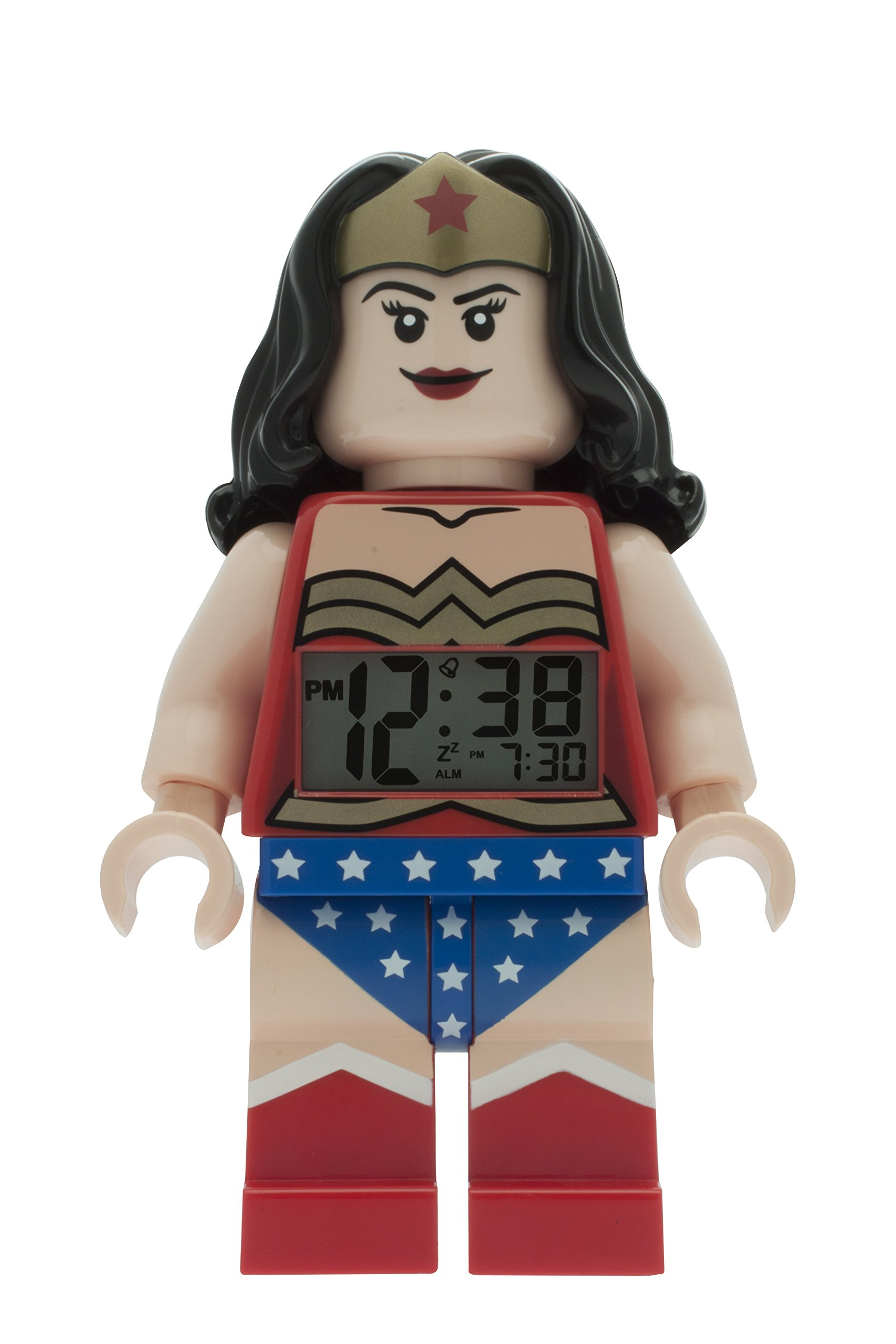 Lego DC Comics 9009877 Super Heroes Wonder Woman Kids Minifigure Light up Alarm Clock | red/Blue | Plastic | 9.5 inches Tall | LCD Display | boy Girl | Official by LEGO