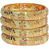 Mansiyaorange Four Traditional Fancy Designer Casual Party Wedding Wear Original Hand Work Meena One Gram Multi Color Golden Bangles for Women