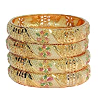 Mansiyaorange Four Traditional Fancy Designer Casual Party Wedding Wear Original Hand Work Meena One Gram Multi Color Golden Bangles for Women