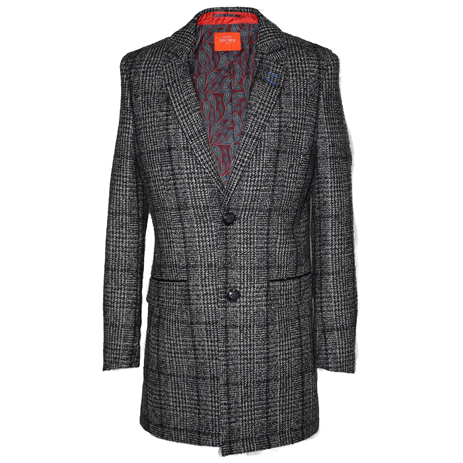 52413fd0b5ba Amazon.com: Harry Brown Single Breasted Wool Coat in Prince of Wales Check  S: Clothing