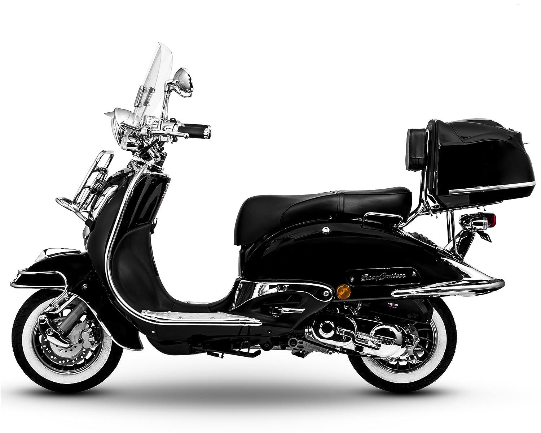 Retro Roller Easy Cruiser Chrom 125 ccm schwarz Motorroller Scooter Moped Mofa Easycruiser znen