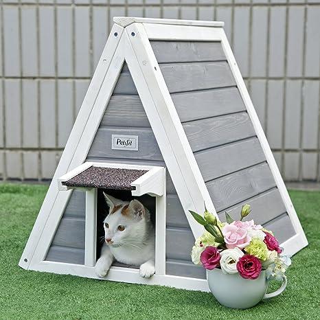 Petsfit Casa de madera del gato del triángulo con la puerta ...