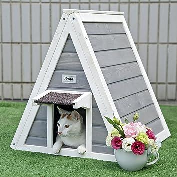Petsfit Casa de madera del gato del triángulo con la puerta del escape, puerta principal