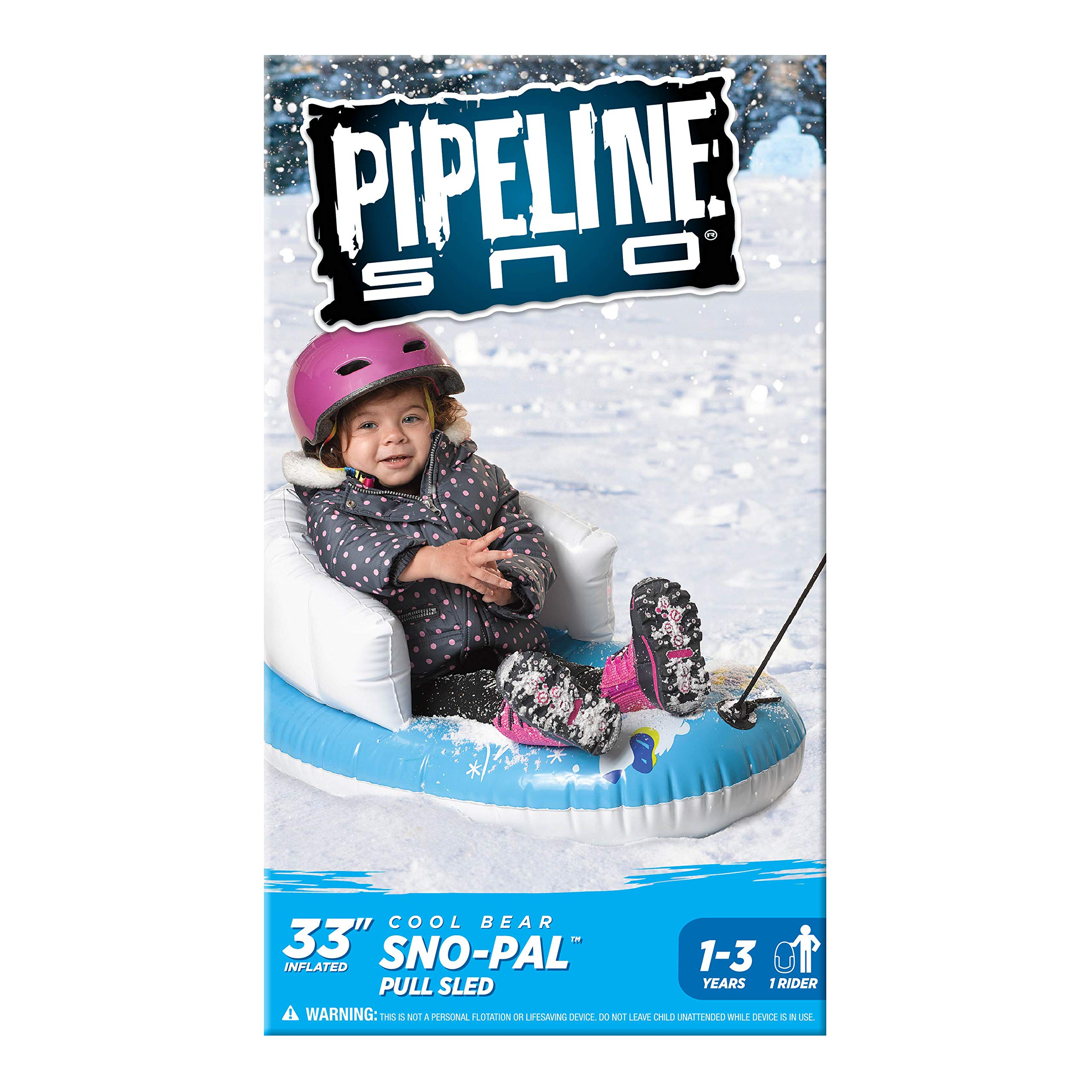 """Pipeline Sno Polar Bear Snow-Pal Inflatable Kids Snow Tube with High Back Seat and Repair Kit, 33"""" Inches Long by Pipeline Sno (Image #4)"""