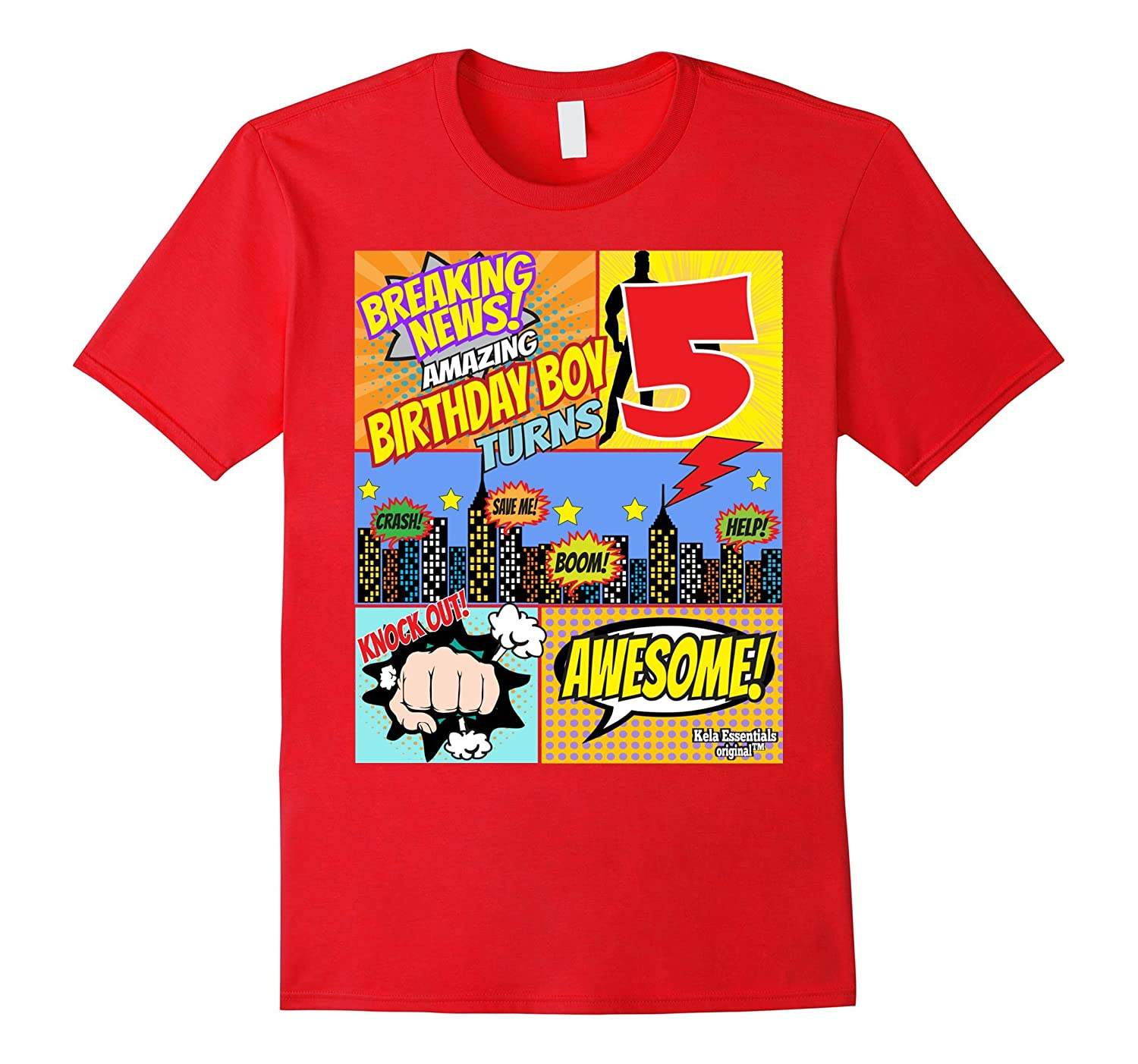 Superhero Birthday Shirt Boys 5 Amazing Awesome Super RT Rateeshirt