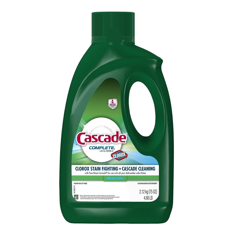 Cascade Complete Gel with Power of Clorox Dishwasher Detergent, Fresh Rapids, 75 oz