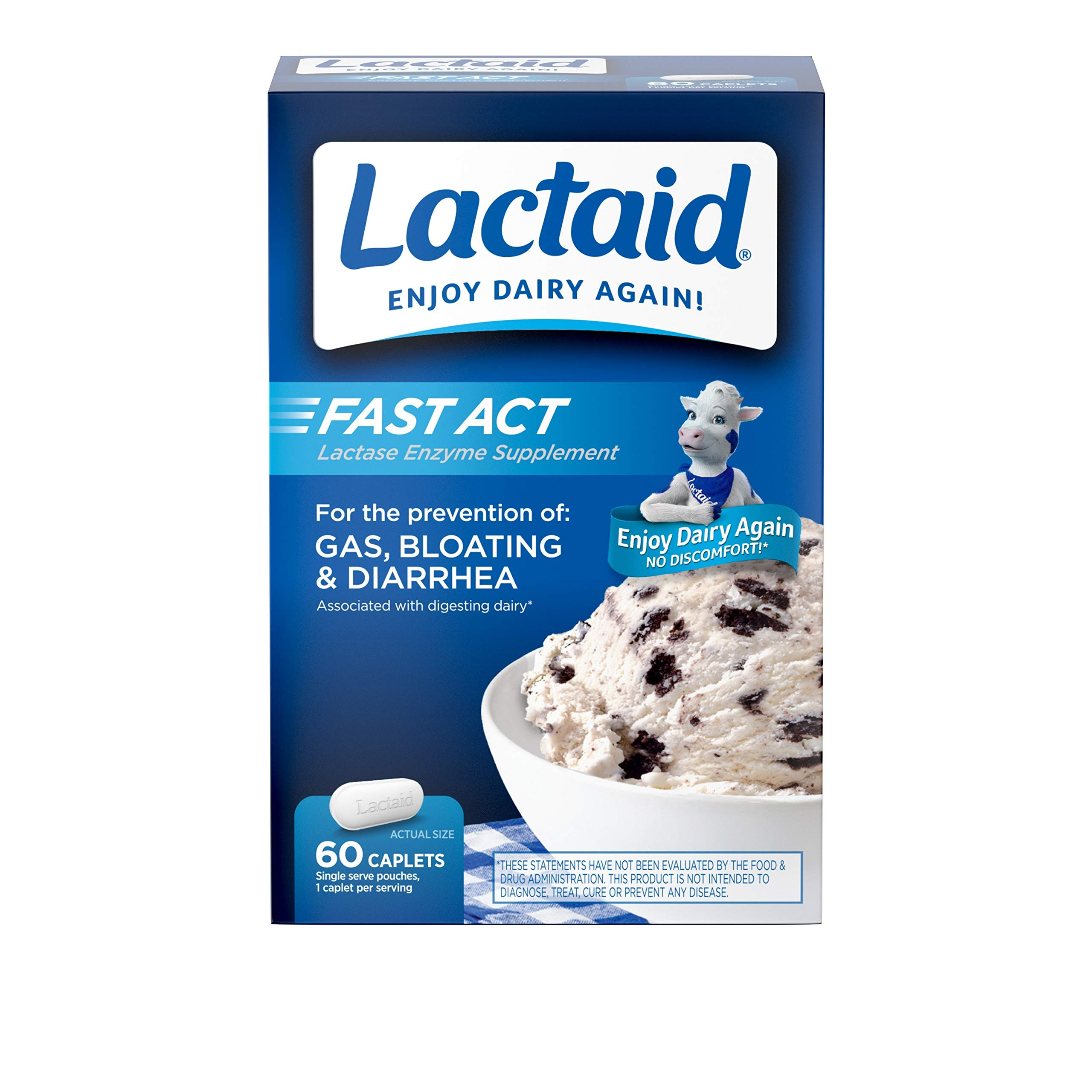 Lactaid Fast Act Lactose Intolerance Relief Caplets with Lactase Enzyme, 60 Travel Packs of 1-ct.