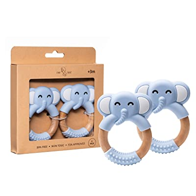 STINKY CHEEKS Blue Elephant Baby Teether Ring - 100% BPA Free Food Grade Silicone elephant teething ring - organic beechwood handle easy to hold, perfect for soothing infant and toddlers gums - 2 Pack: Toys & Games