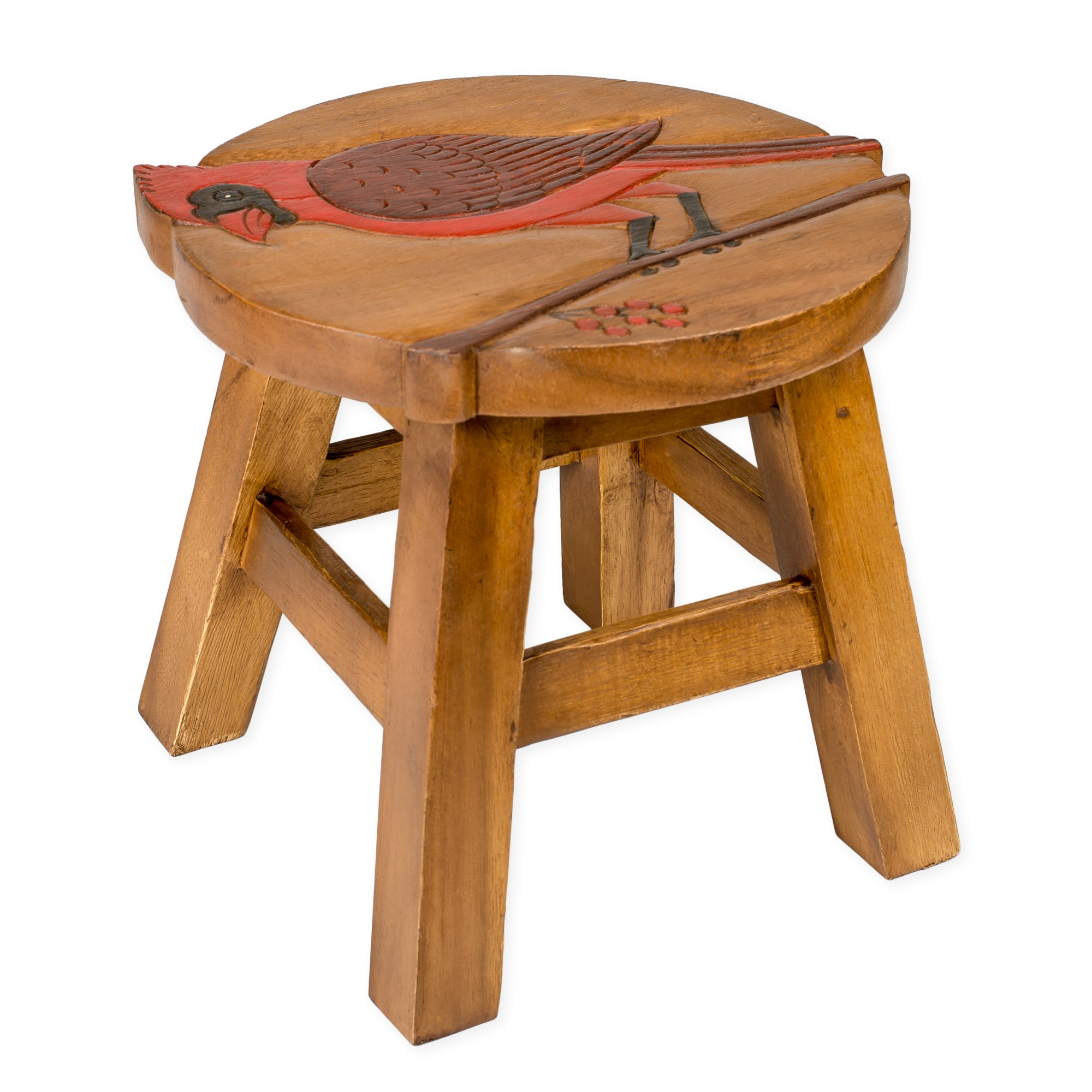 Cardinal Design Hand Carved Acacia Hardwood Decorative Short Stool