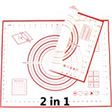 Silicone Baking Mat – Set of 2 Mats – Food Safe – Ideal as Cookie Sheets, Kitchen Counter Mat, Dough Rolling Mat, Oven Liner