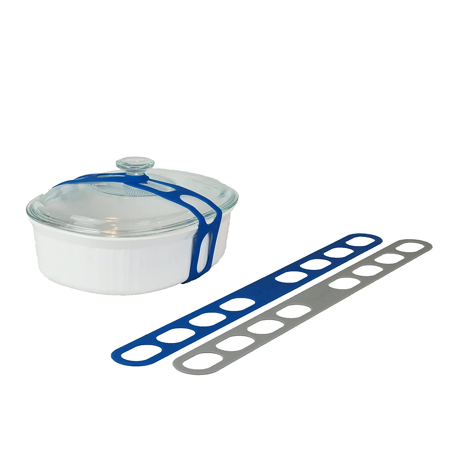 Lid Latch the reusable universal lid securing strap for crockpots, casserole dishes, pots, pans and more. Make it easy to transport your favorite dishes with one simple strap. (2 Pack Grey/Blue)
