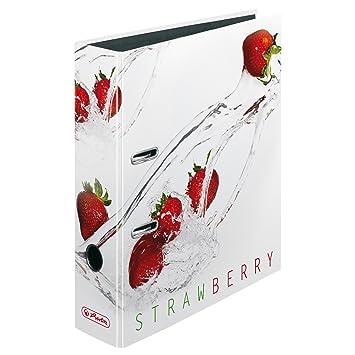 Herlitz - Archivador de anillas (8 cm), diseño de fresas: Amazon.es: Oficina y papelería