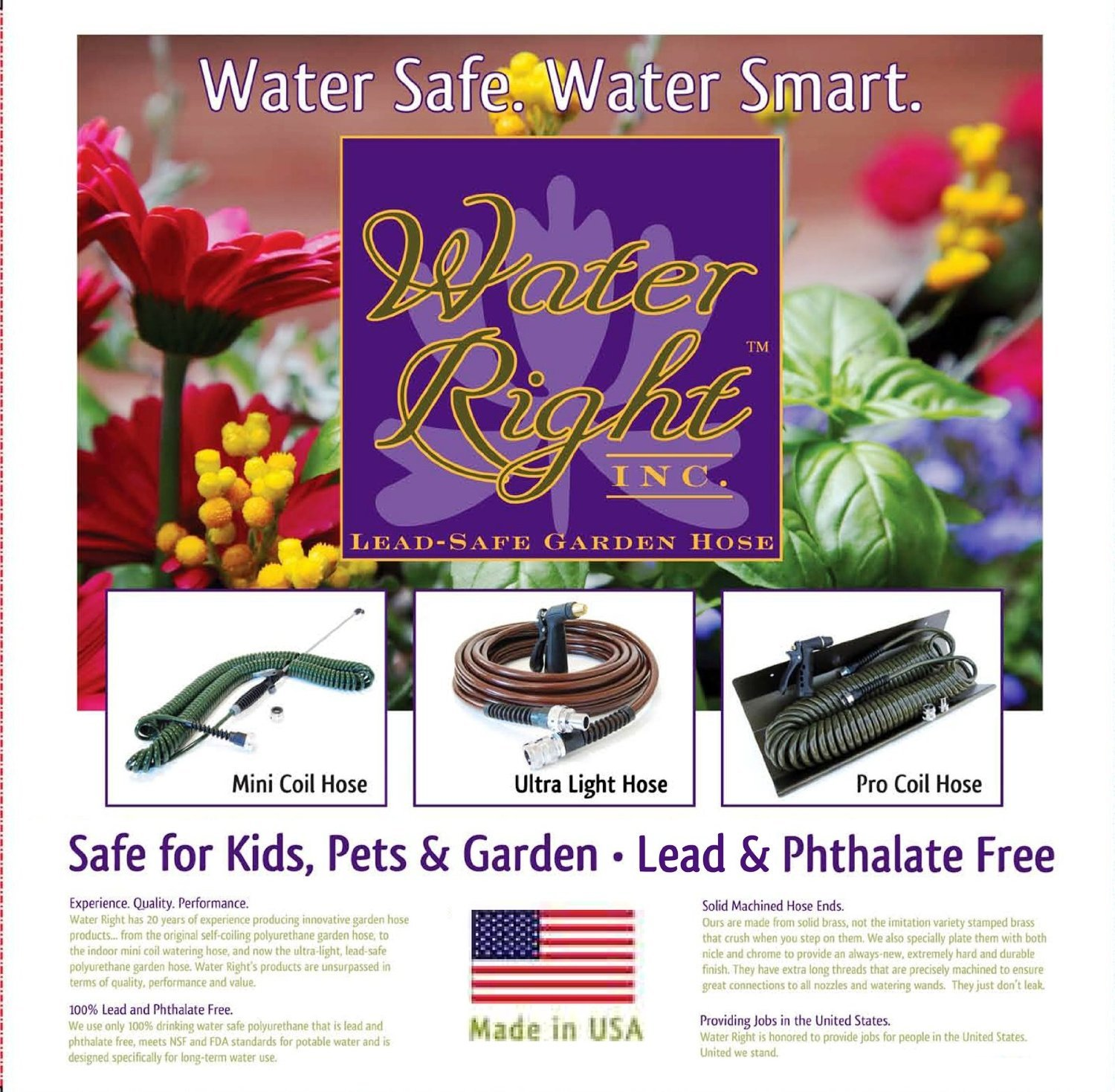 Water Right Professional Coil Garden Hose Lead Free Drinking Water Safe 75-Foot x 3/8-Inch Olive Green  sc 1 st  eBay & Water Right Professional Coil Garden Hose Lead Free Drinking Water ...