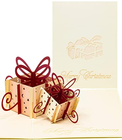 Tarjeta de Navidad pop up, tarjeta X-Mass con dos regalos de ...