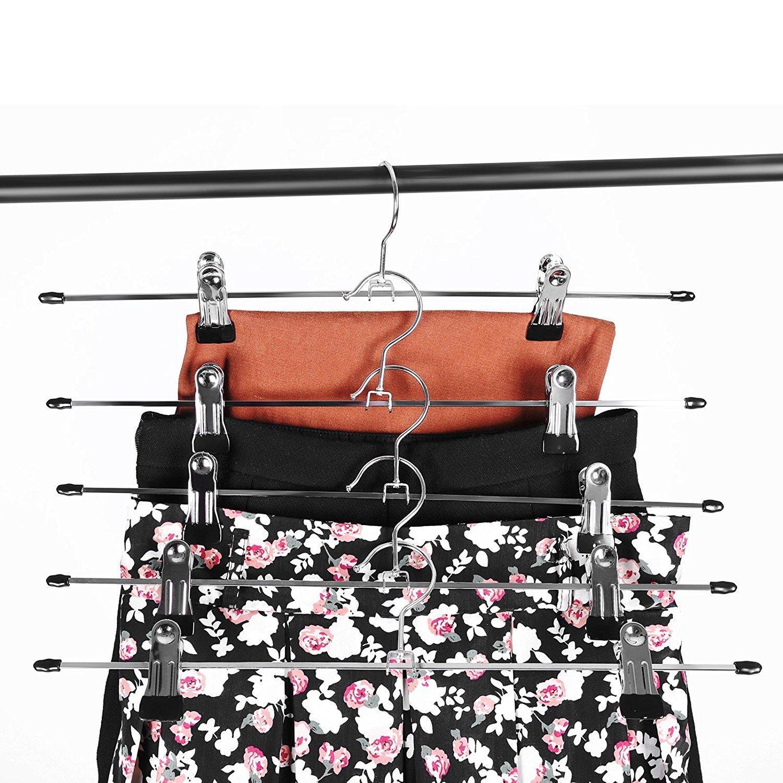 10pcs YIFAA Lot de 10 Cintres en M/étal avec Pince,Antid/érapante Pantalons Cintre pour Jupes,V/êtements