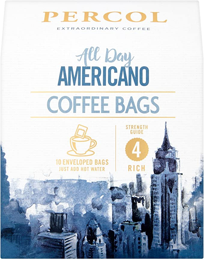 Percol Rainforest All Day Americano Coffee Bags Rich Smooth Full Bodied Flavor Single Serve Coffee On The Go For Caffeine Boost Any Time Of Day 10