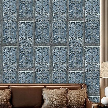 L038 Retro Textured Wallpaper Roll Blue Wallpaper Living Room Bedroom Kitchen Bathroom Bar Wall Decoration 20 8 X 32 8ft
