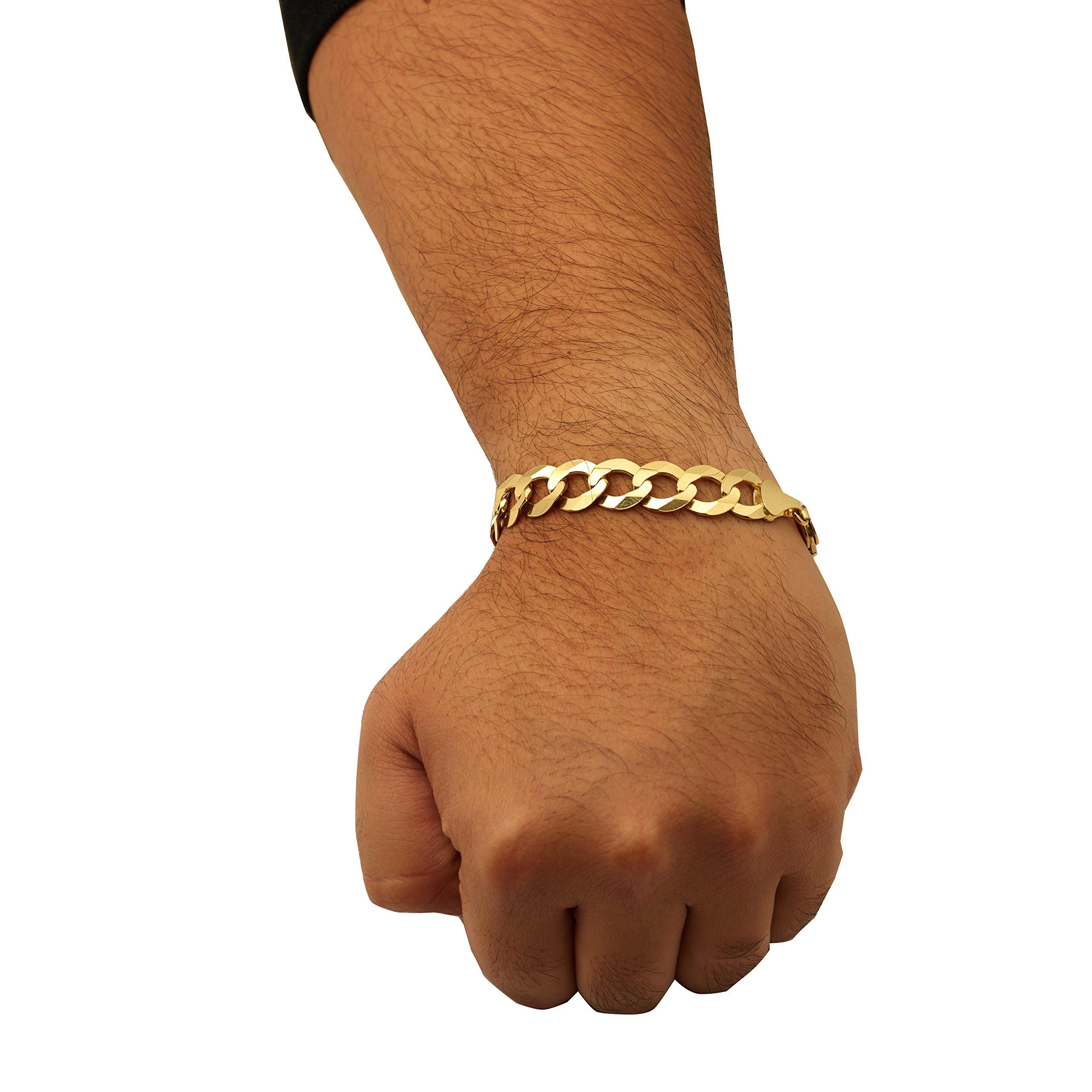 LOVEBLING 10k Yellow Gold 12mm Plain Solid Curb Cuban Bracelet W/Lobster Lock (8'')