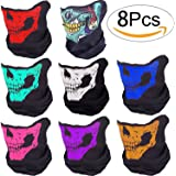 Motorcycle Face Masks - Pack of 8 Lyxuan Skull Mask Half Face Bandana Mask for Out Riding Motorcycle - Ski Mask Winter Motorcycle Neck Warmer Tactical Balaclava Hood Helmet