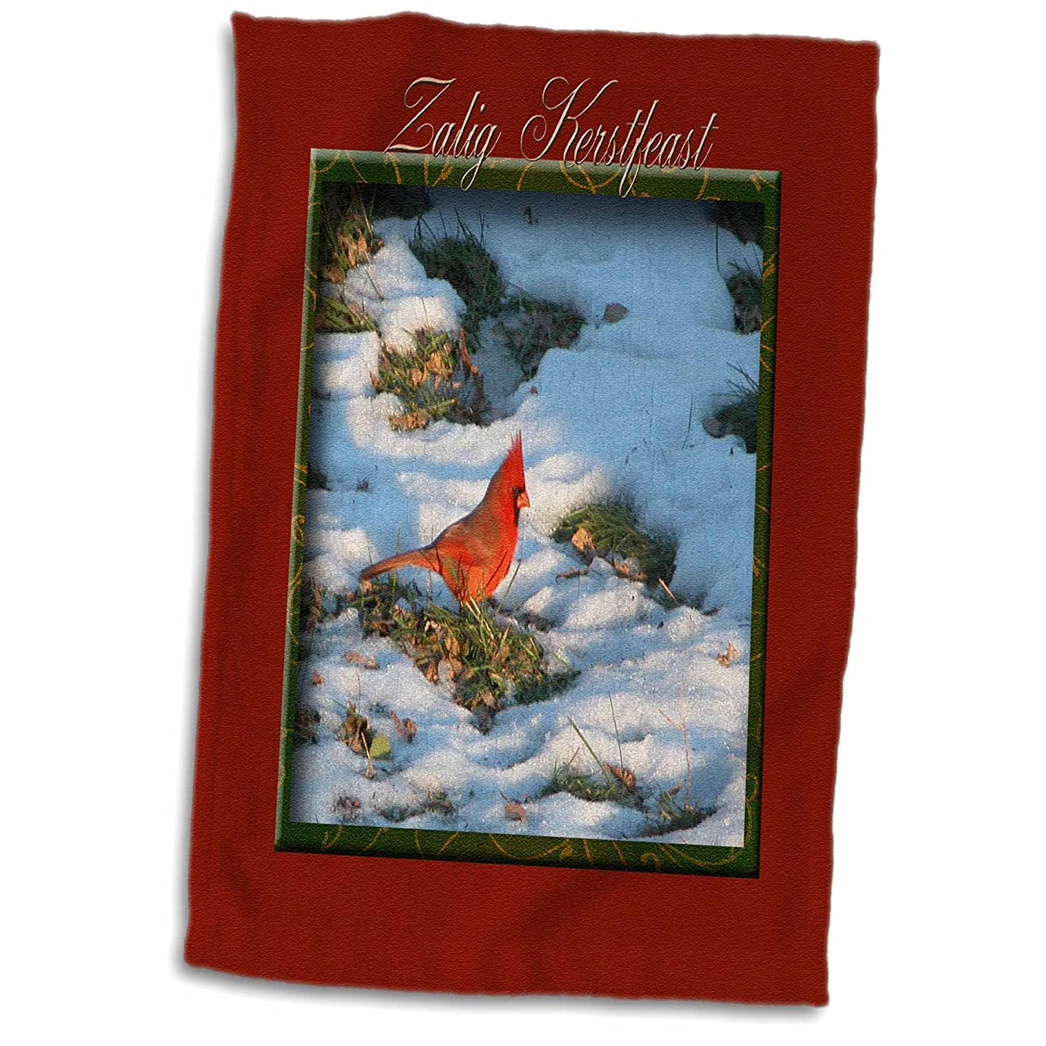 Zalig Kerstfeast Merry Christmas in Dutch 15x22 Hand Towel TWL/_37015/_1 Cardinal 3dRose Beverly Turner Christmas Other Languages
